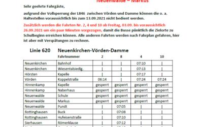 Linie 620 (Neuenkirchen – Vörden – Damme): Fahrplanänderungen